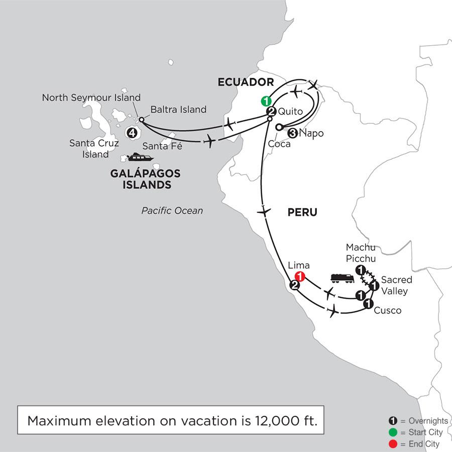 Galápagos Highlights & Peru with Ecuadors Amazon