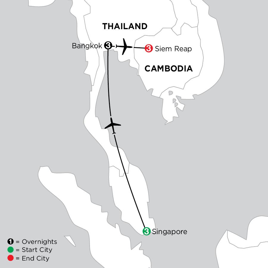 Singapore, Bangkok & Siem Reap