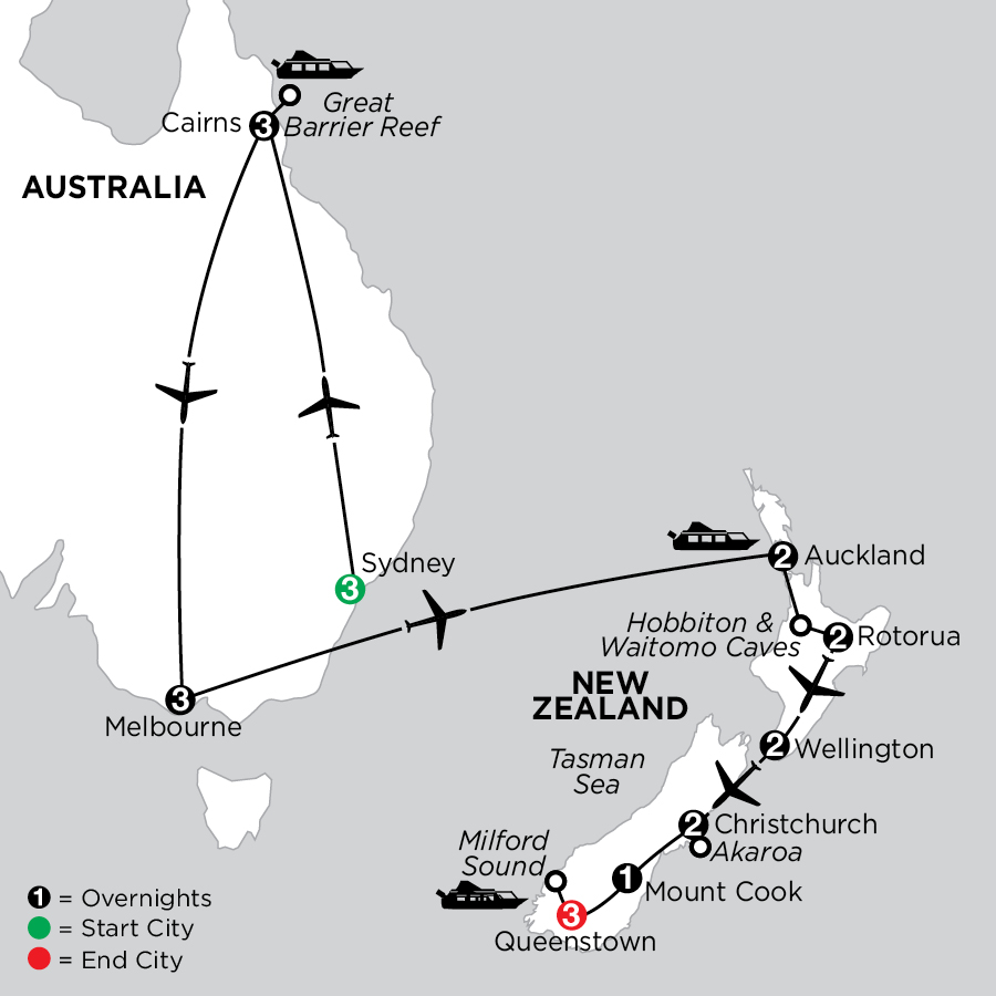 Naturally New Zealand with Sydney, the Great Barrier Reef & Melbourne