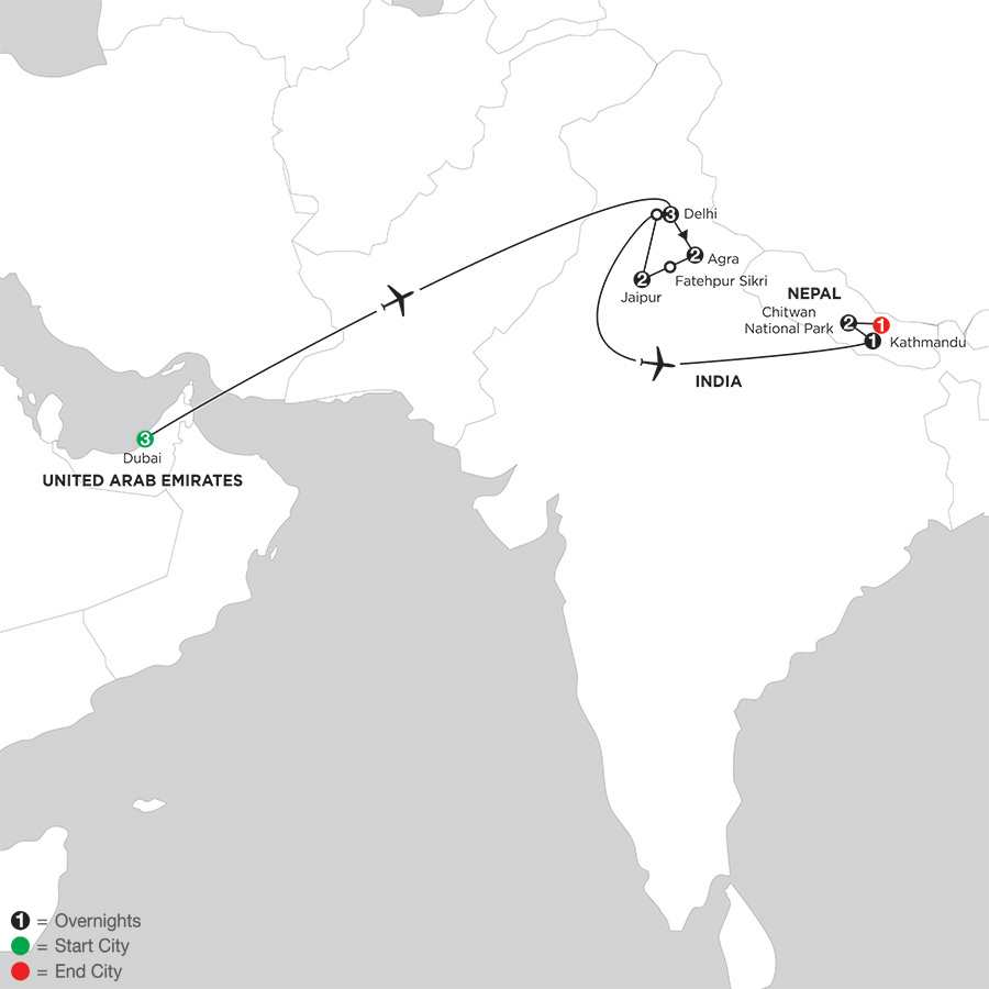 Indias Golden Triangle with Dubai & Nepal
