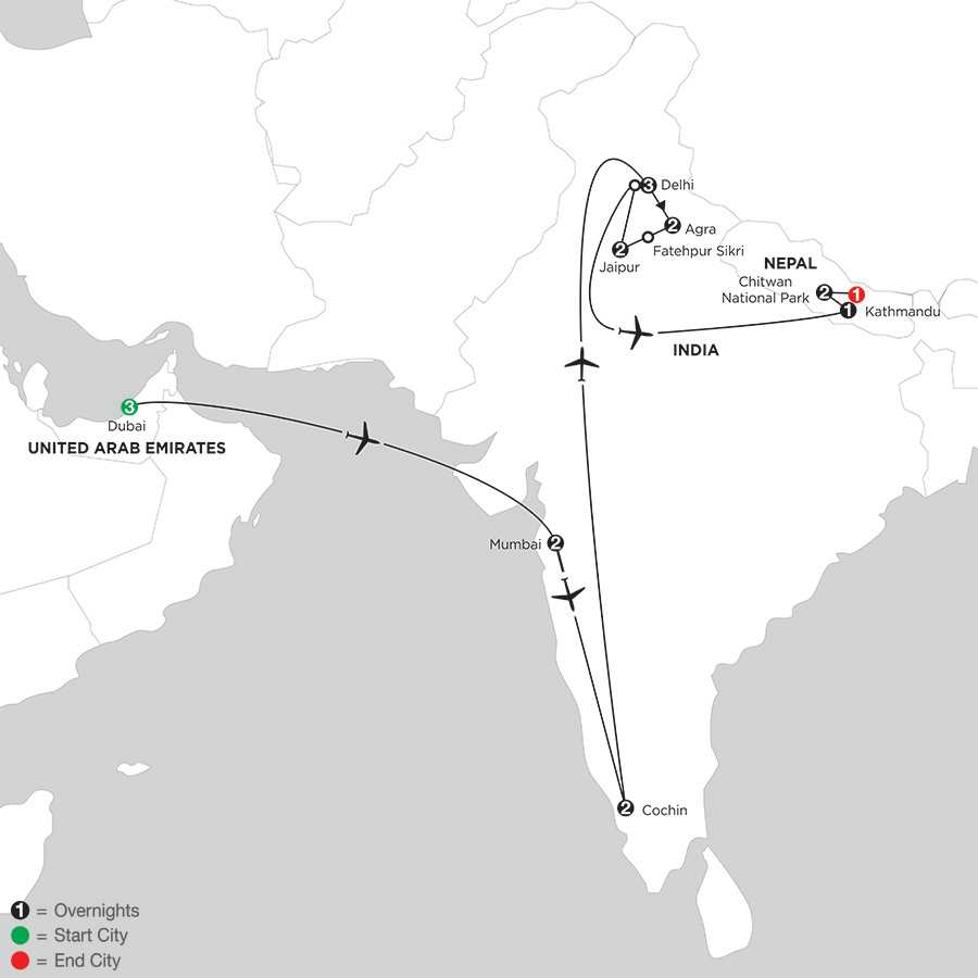 Indias Golden Triangle with Dubai, Southern India & Nepal
