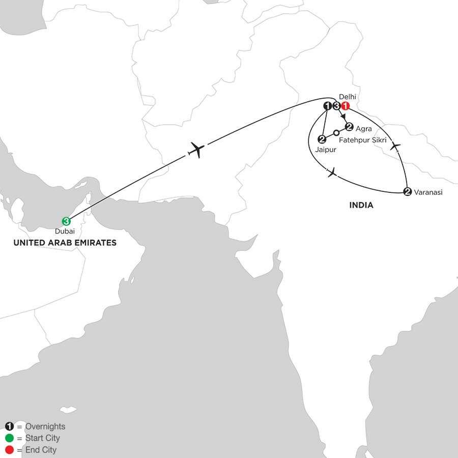 Indias Golden Triangle with Dubai & Varanasi