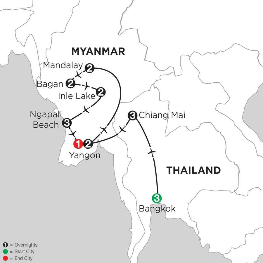 Mingalabar Myanmar with Bangkok, Chiang Mai & Ngapali Beach