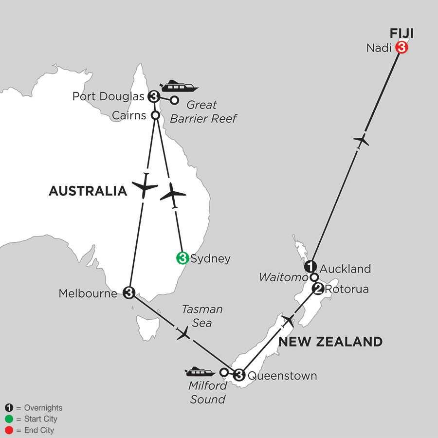 Australian Escape with Queenstown, Rotorua & Fiji