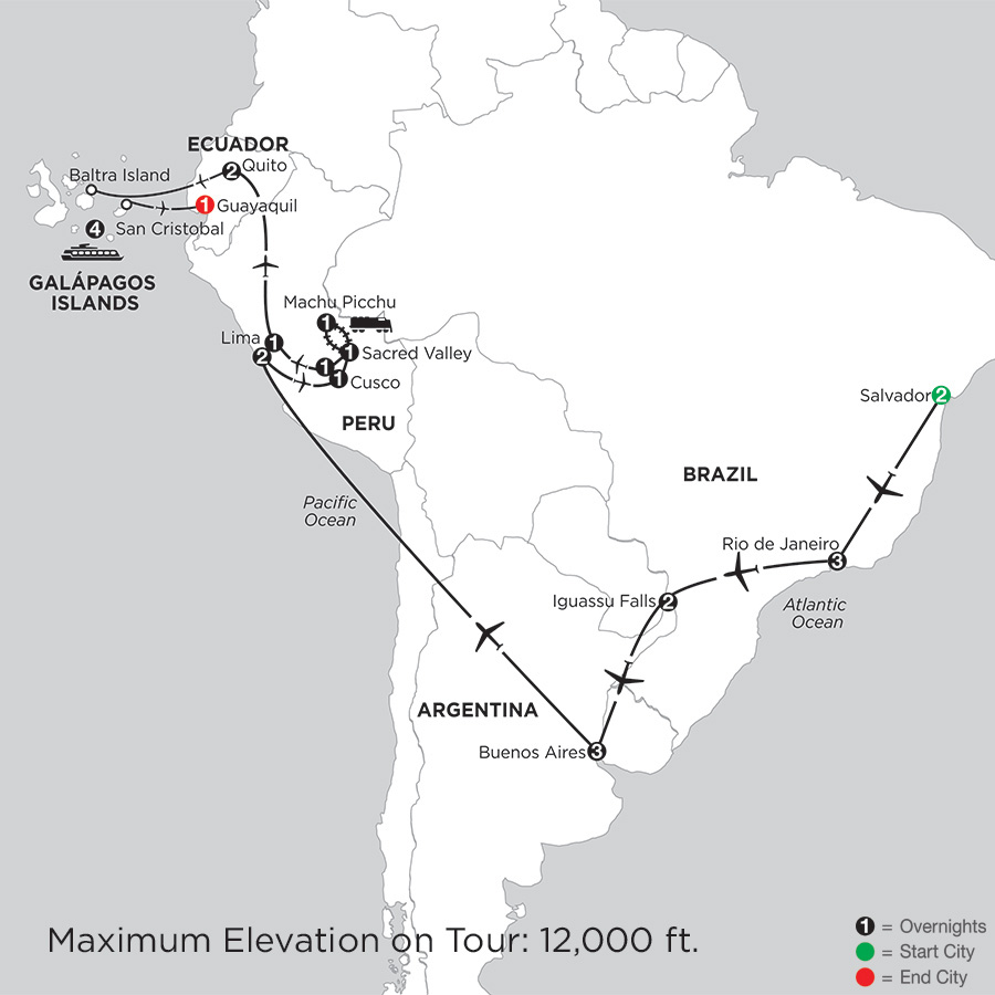 Grand Tour of South America with Salvador & the Galápagos on board the Santa Cruz II