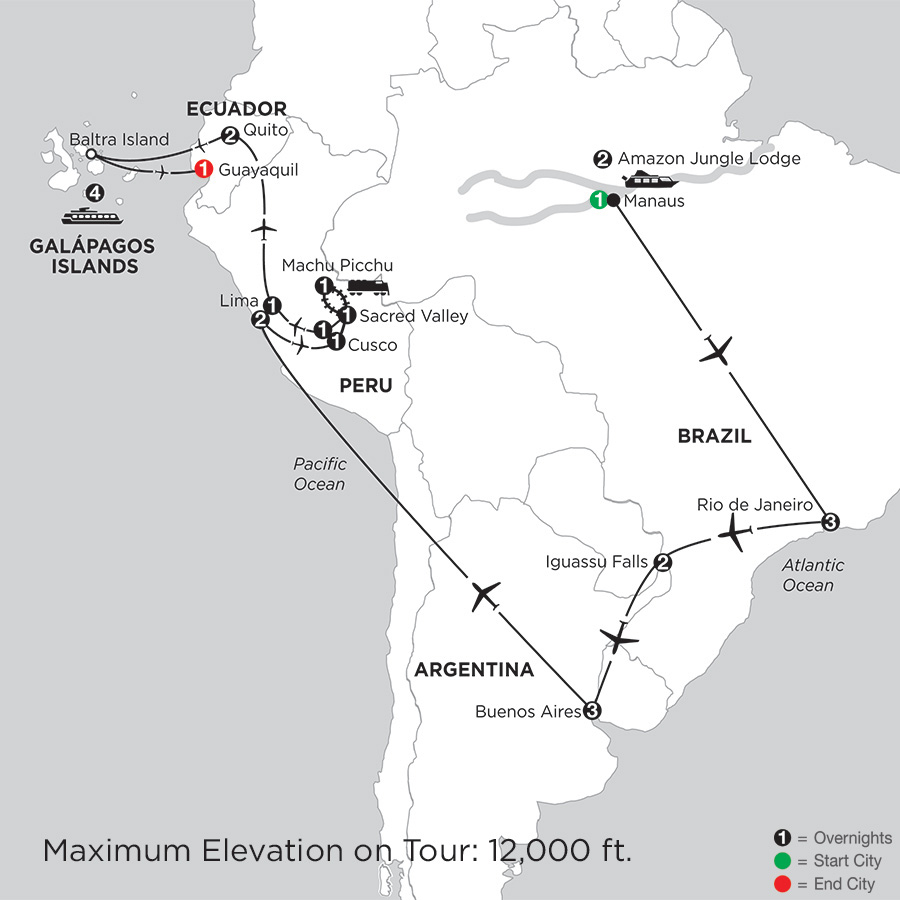 Grand Tour of South America with Brazils Amazon & the Galápagos on board the La Pinta