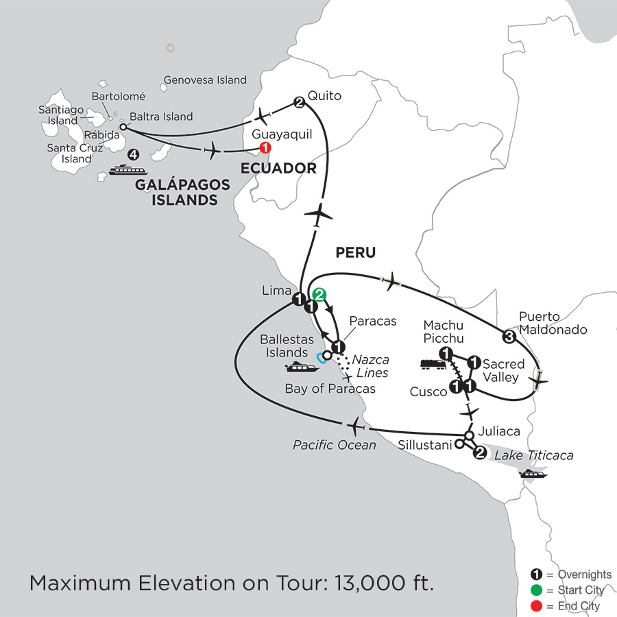 Andean Explorer with Perus Amazon & the Galápagos on the La Pinta