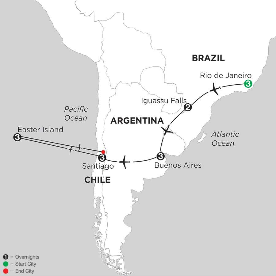 Brazil, Argentina & Chile with Easter Island