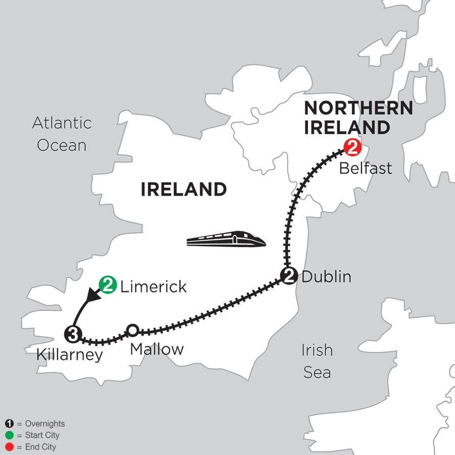 2 Nights Limerick, 3 Nights Killarney, 2 Nights Dublin & 2 Nights Belfast