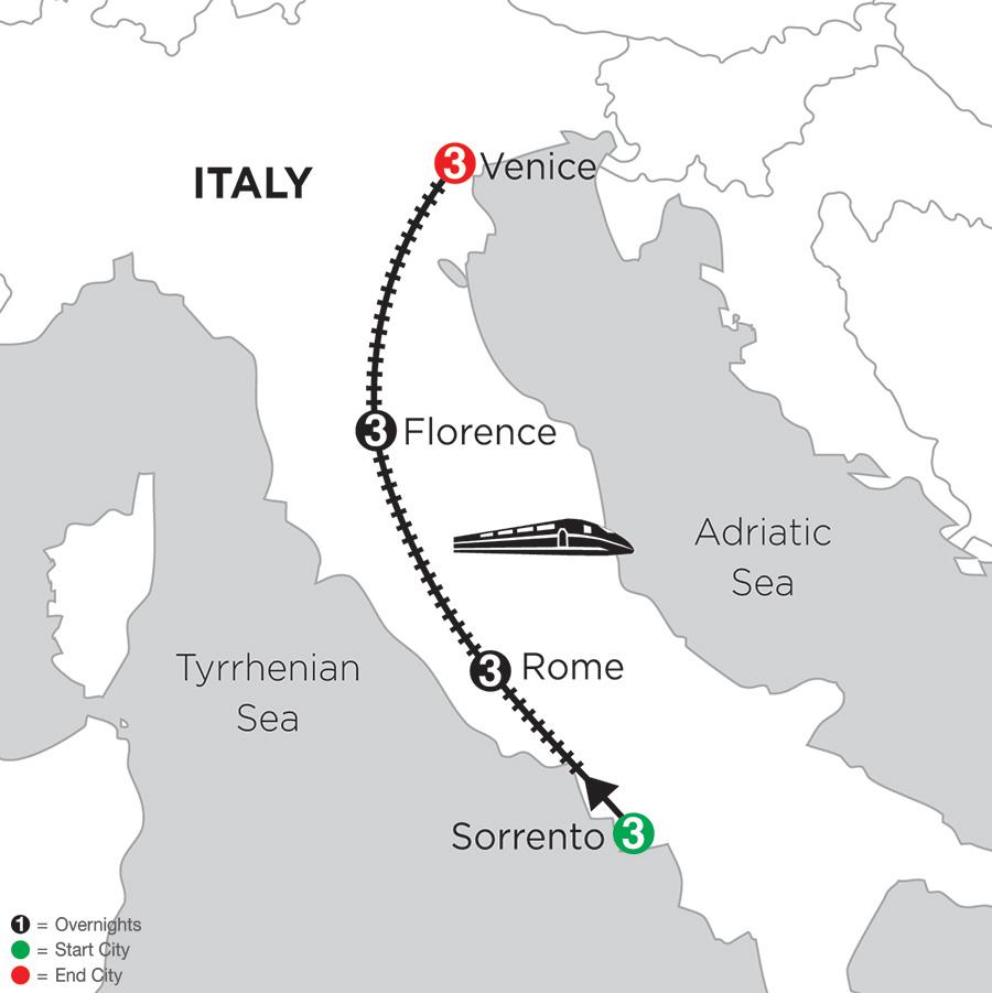 3 Nights Sorrento, 3 Nights Rome, 3 Nights Florence & 3 Nights Venice