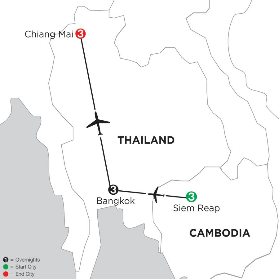 Siem Reap, Bangkok & Chiang Mai