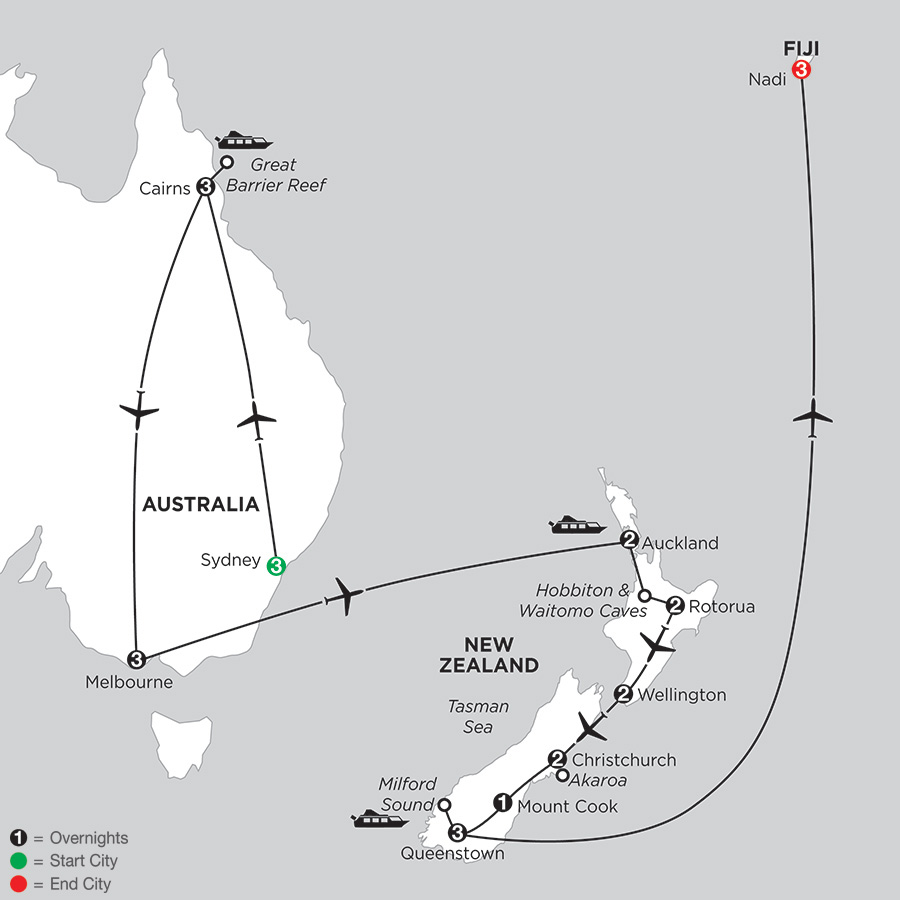 Naturally New Zealand with Sydney, Cairns, Melbourne & Fiji