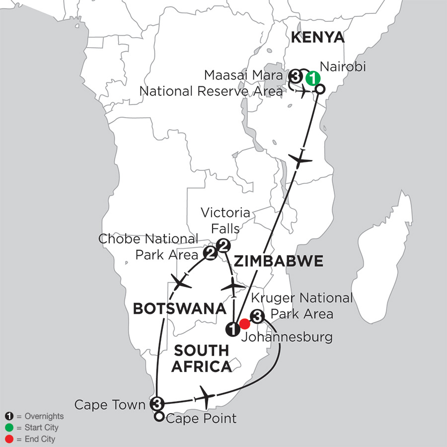 Jewels of Africa with Chobe National Park Area & Kruger National Park Area