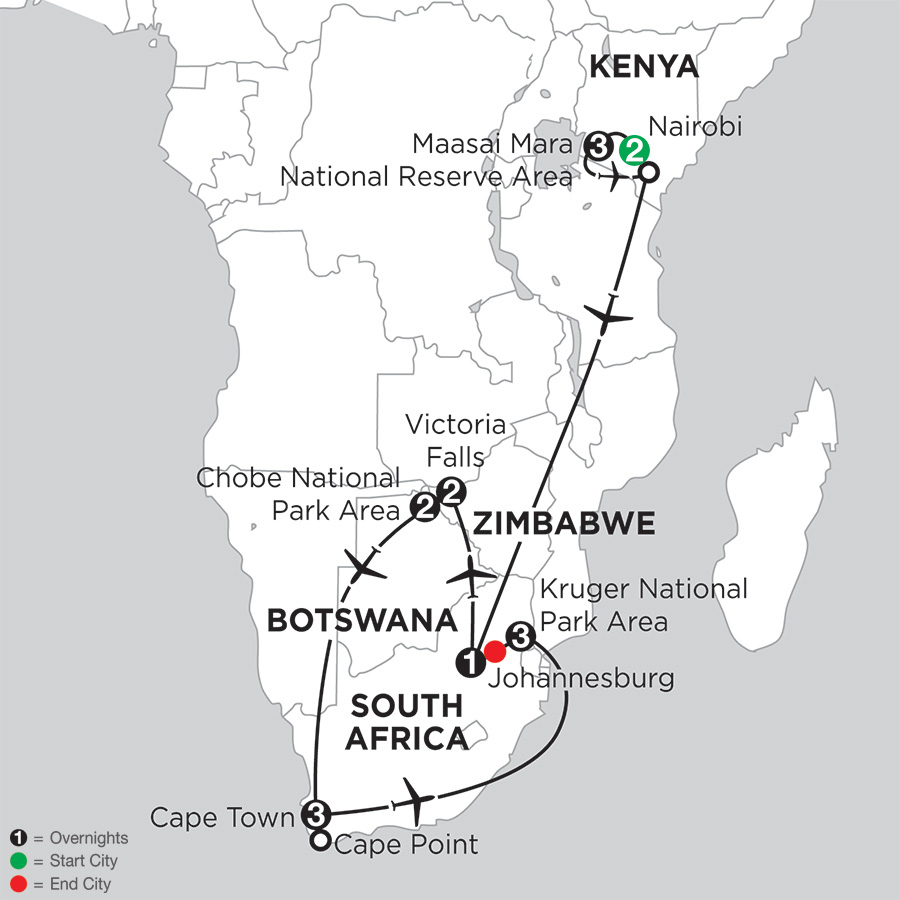 Jewels of Africa with Nairobi, Chobe National Park Area & Kruger National Park Area