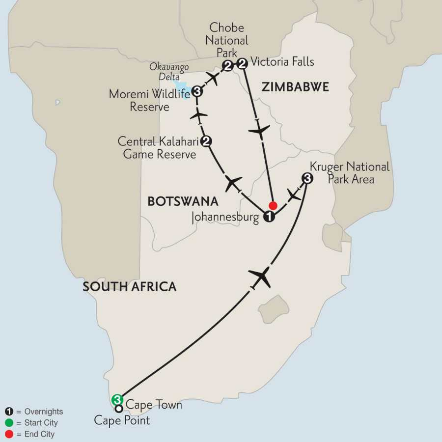 Wilds of Botswana & Victoria Falls with Cape Town & Kruger National Park Area