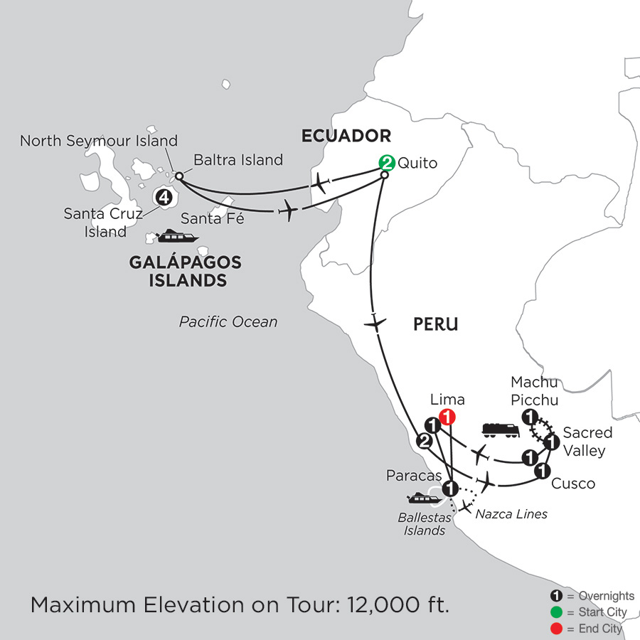 Galápagos Highlights & Peru with Nazca Lines