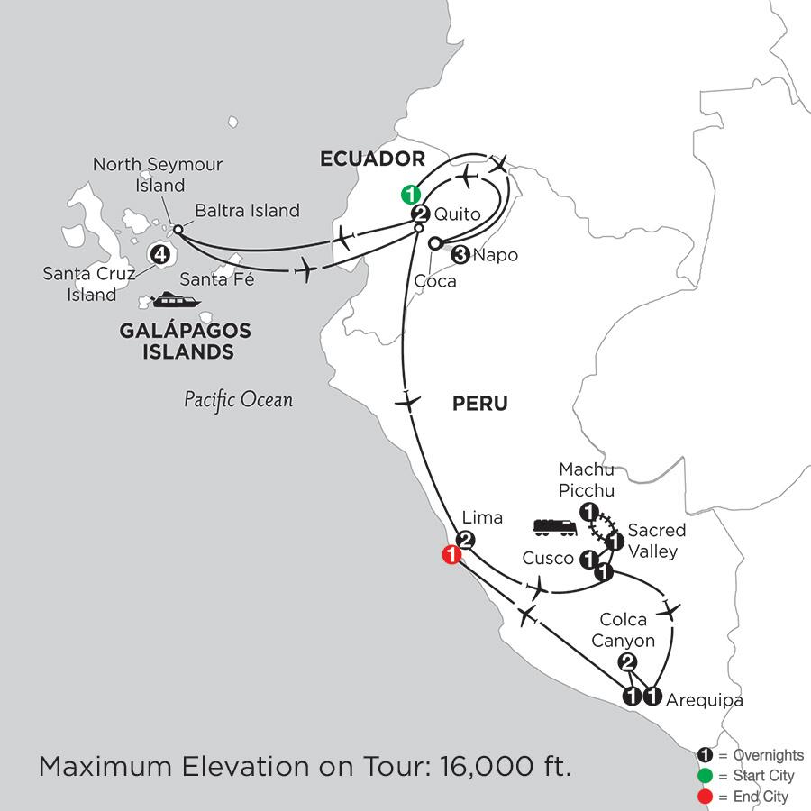 Galápagos Highlights & Peru with Ecuadors Amazon, Arequipa & Colca Canyon