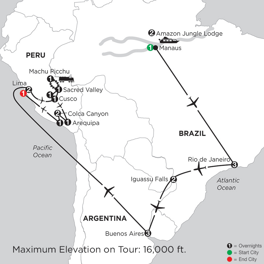 Grand Tour of South America with Brazils Amazon, Arequipa & Colca Canyon
