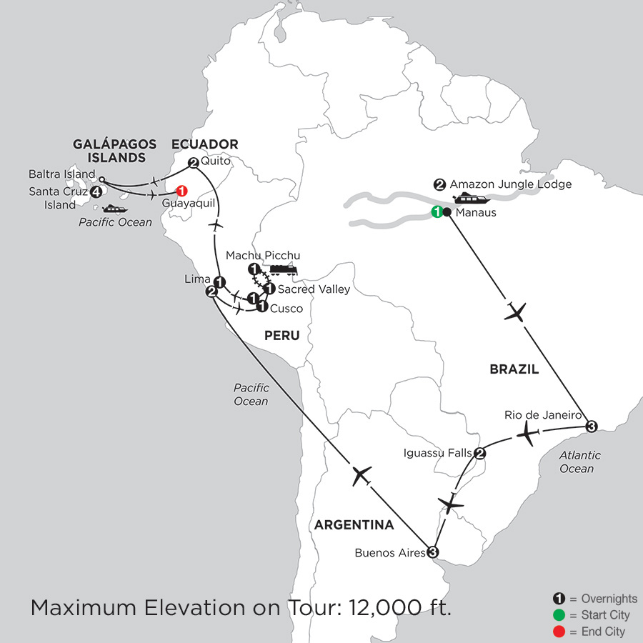Grand Tour of South America with Brazils Amazon & the Finch Bay in the Galápagos