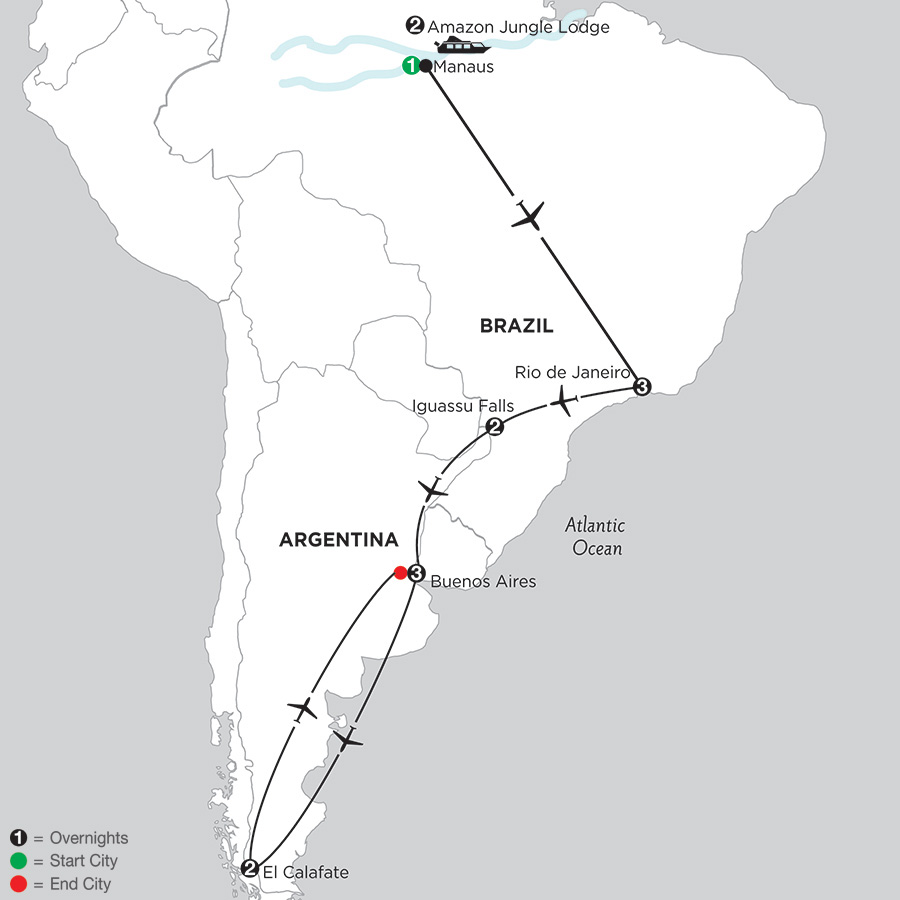 South American Selection with Brazils Amazon & El Calafate