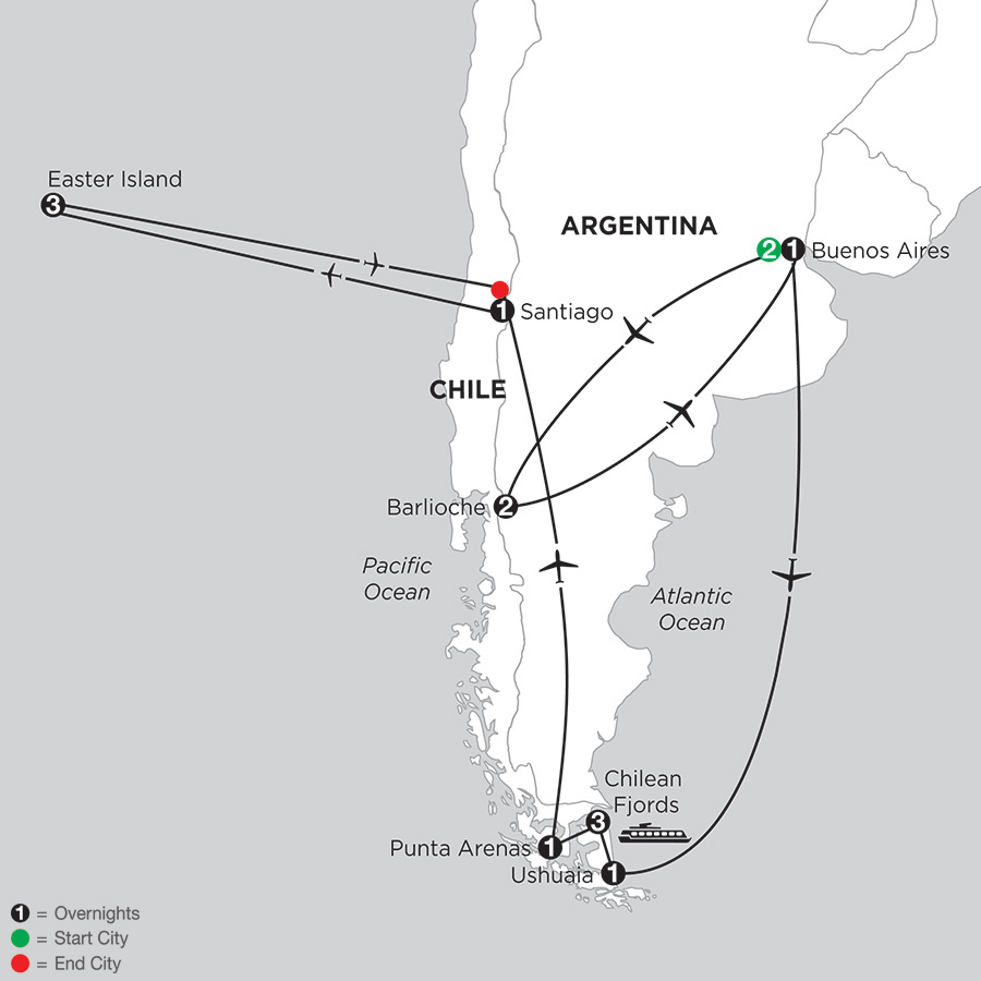 Patagonia & Chilean Fjords with Bariloche & Easter Island