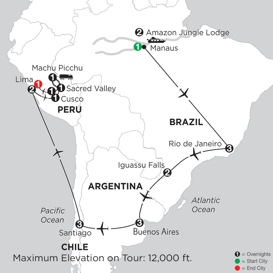 Brazil, Argentina & Chile with Brazils Amazon, Peru & Machu Picchu