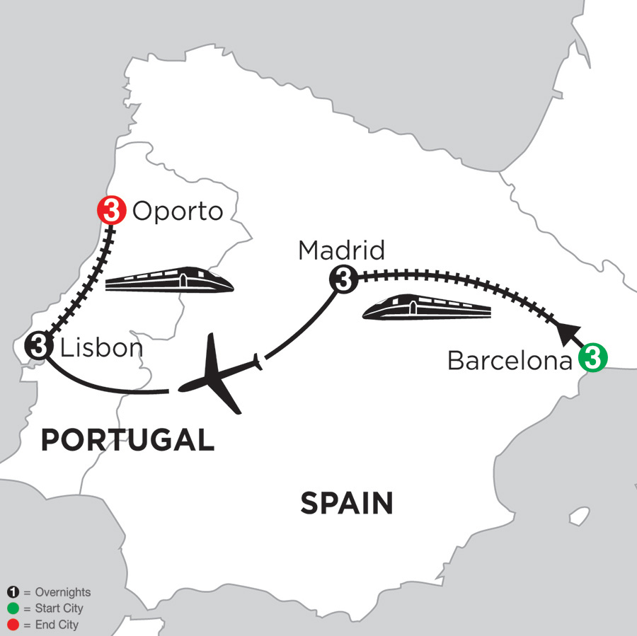 3 Nights Barcelona, 3 Nights Madrid, 3 Nights Lisbon & 3 Nights Oporto