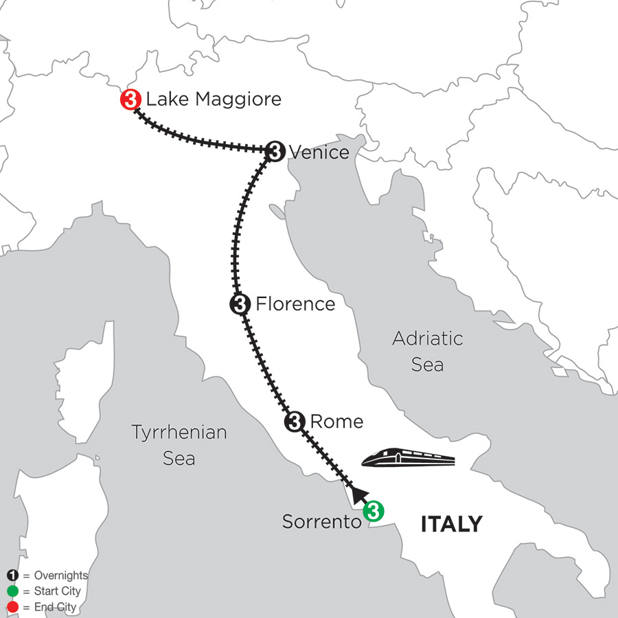 3 Nights Sorrento, 3 Nights Rome, 3 Nights Florence, 3 Nights Venice & 3 Nights Lake Maggiore