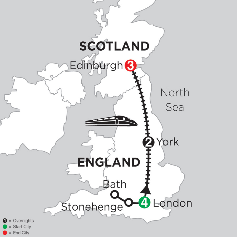 4 Nights London with Stonehenge & Bath, 2 Nights York & 3 Nights Edinburgh