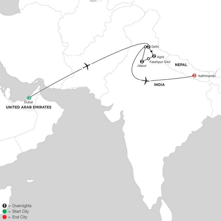 Indias Golden Triangle with Dubai & Kathmandu