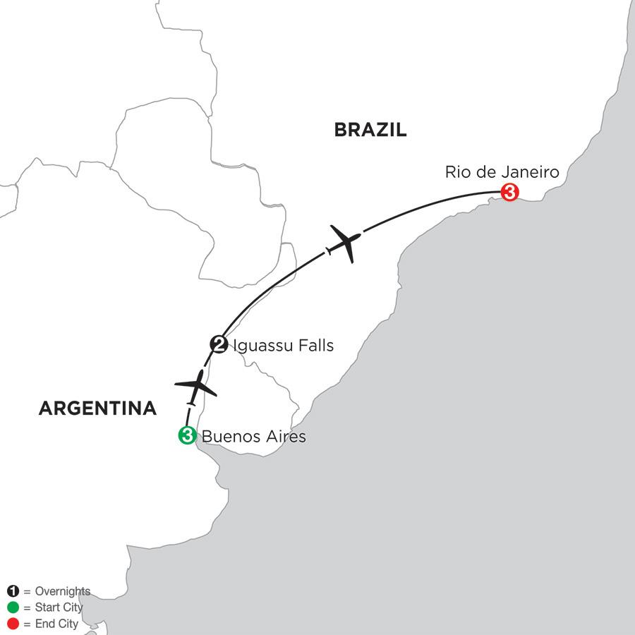 Buenos Aires Getaway with Iguassu Falls and Rio de Janeiro