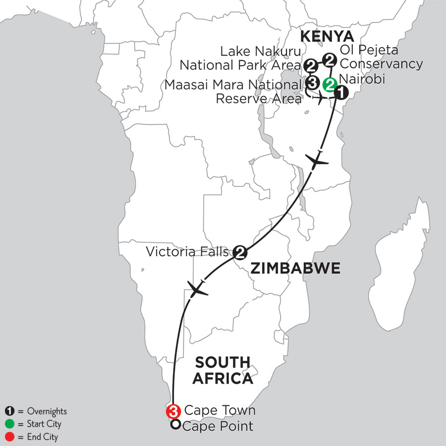 Jewels of Africa with Nairobi, Ol Pejeta Conservancy & Lake Nakuru National Park Area