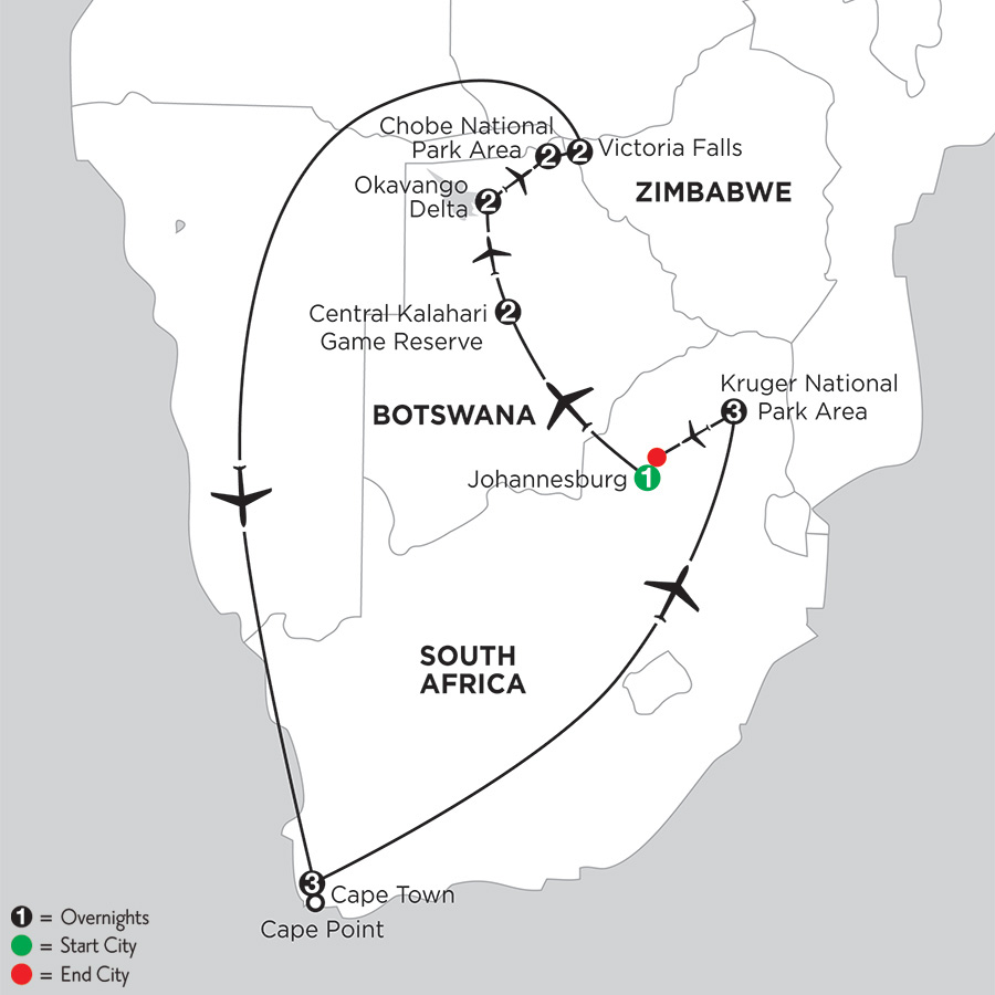 Wilds of Botswana & Victoria Falls with Cape Town and Kruger National Park Area