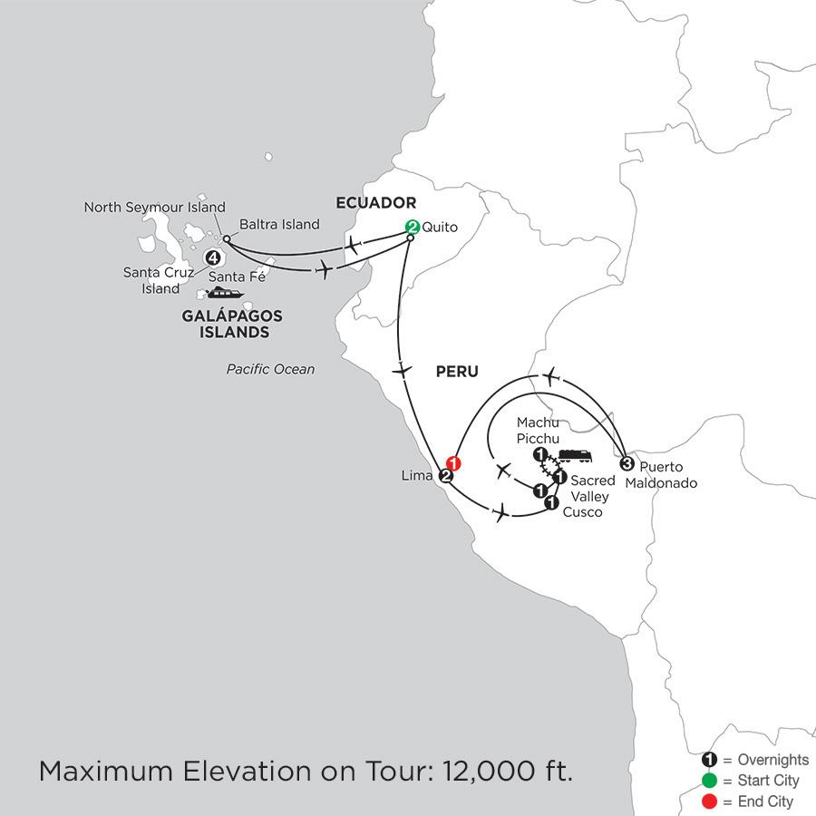 Galápagos Highlights & Peru with Perus Amazon