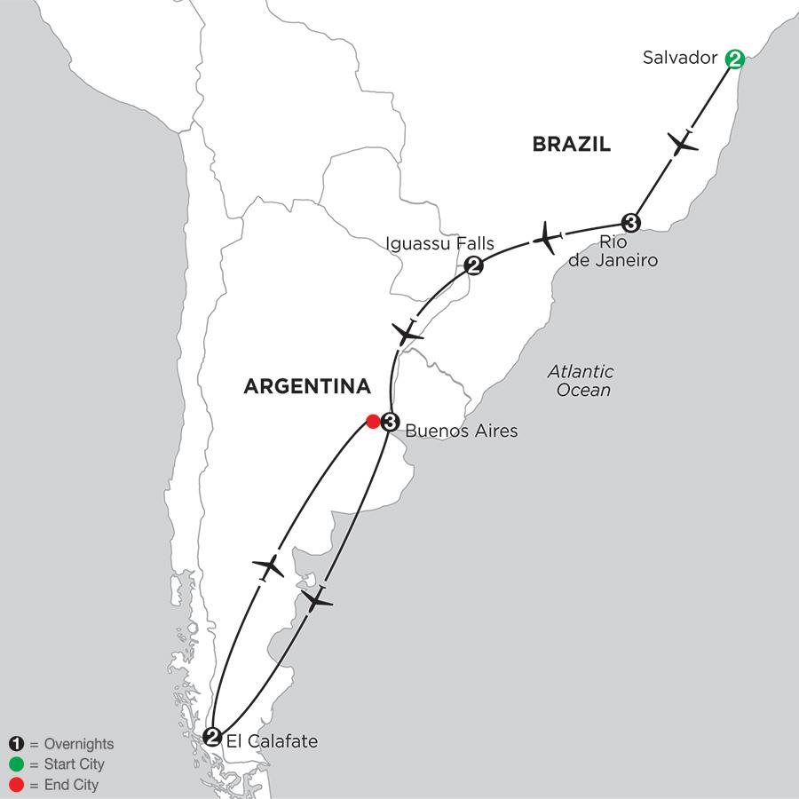 South American Selection with Salvador & El Calafate