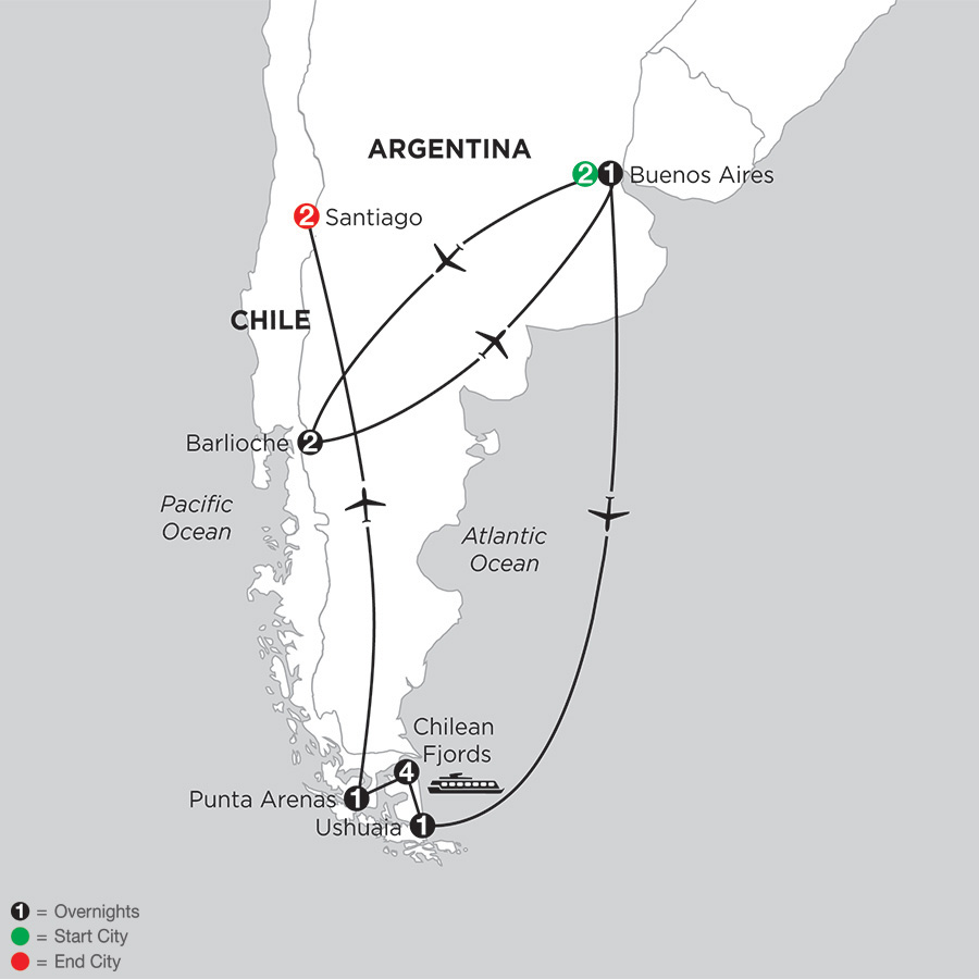Patagonia & Chilean Fjords with Bariloche