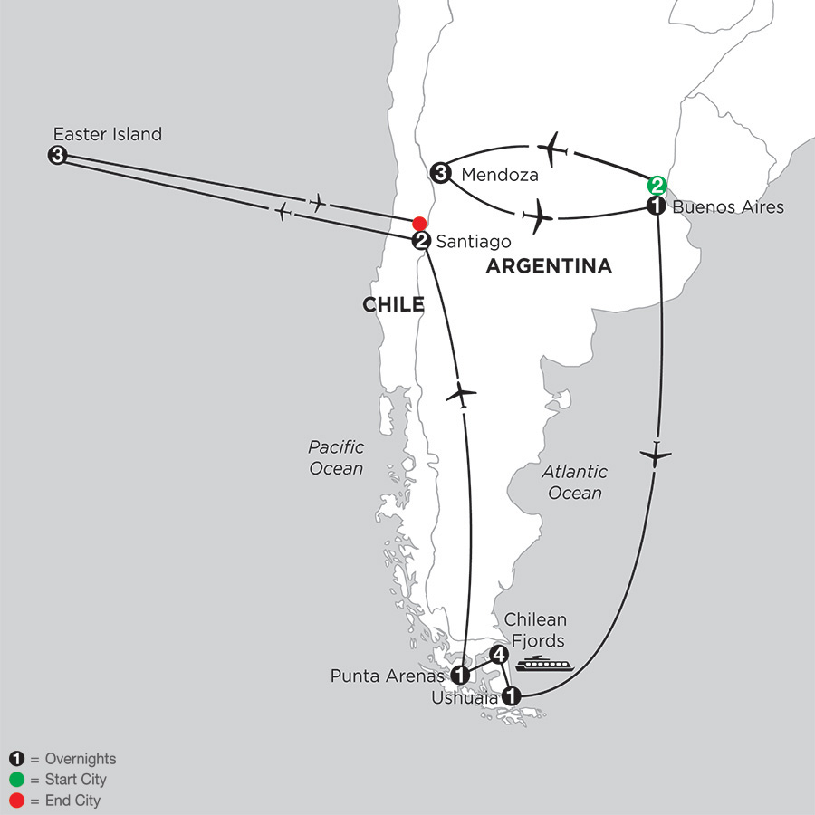 Patagonia & Chilean Fjords with Mendoza & Easter Island
