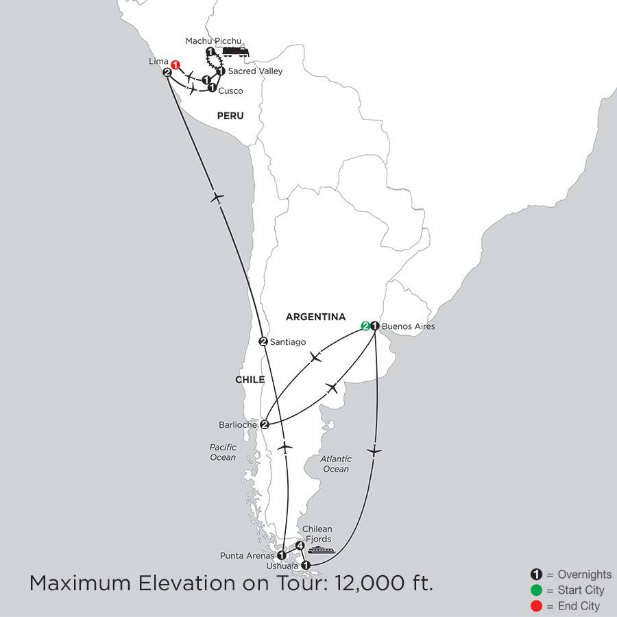 Patagonia & Chilean Fjords with Bariloche, Peru & Machu Picchu