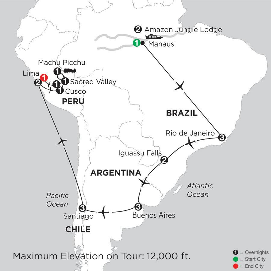 Brazil, Argentina & Chile with Brazils Amazon, Peru & Machu Picchu