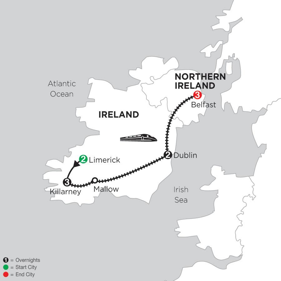 2 Nights Limerick, 3 Nights Killarney, 2 Nights Dublin, 3 Nights Belfast