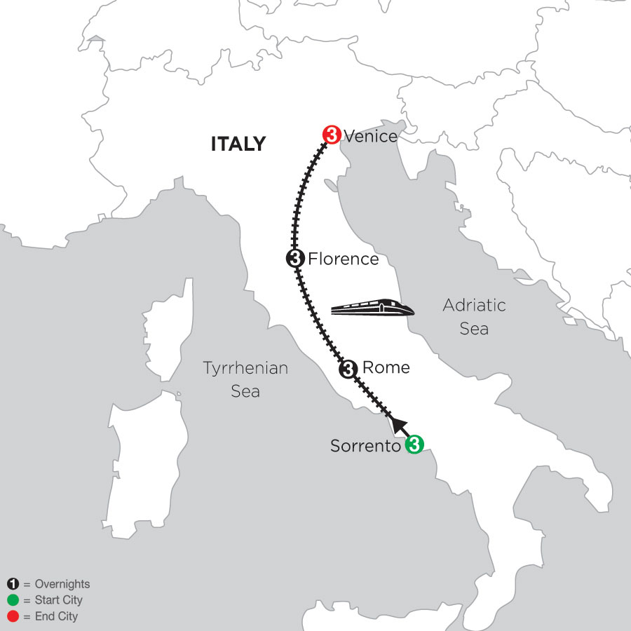 3 Nights Sorrento, 3 Nights Rome, 3 Nights Florence & 3 Nights Venice