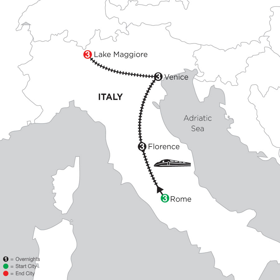 3 Nights Rome, 3 Nights Florence, 3 Nights Venice & 3 Nights Lake Maggiore
