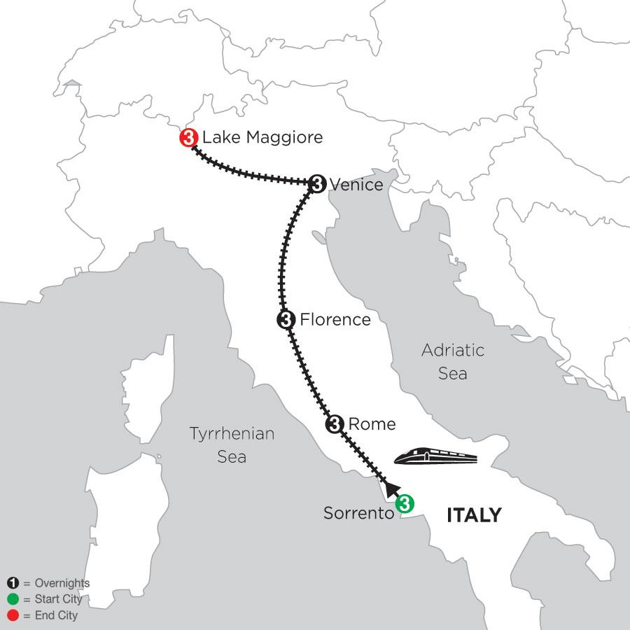 3 Nights Sorrento, 3 Nights Rome, 3 Nights Florence, 3 Nights Venice & 3 Nights Lake Maggiore