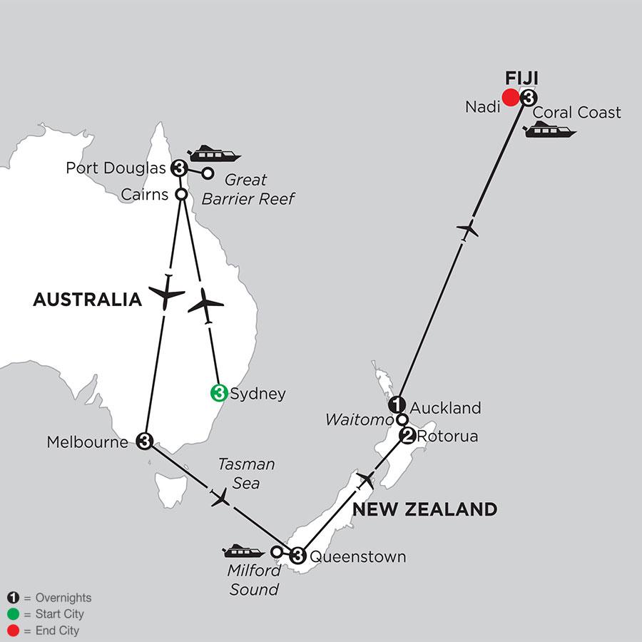 Australian Explorer with Queenstown, Rotorua & Fiji