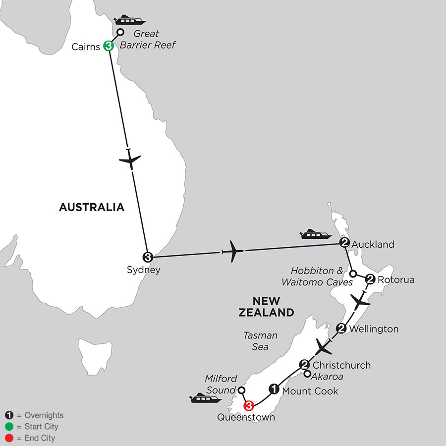 Naturally New Zealand with the Great Barrier Reef, & Sydney