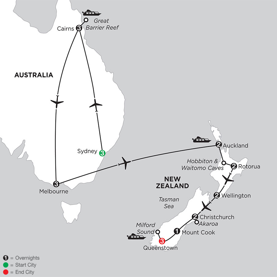 Naturally New Zealand with Sydney, the Great Barrier Reef, & Melbourne