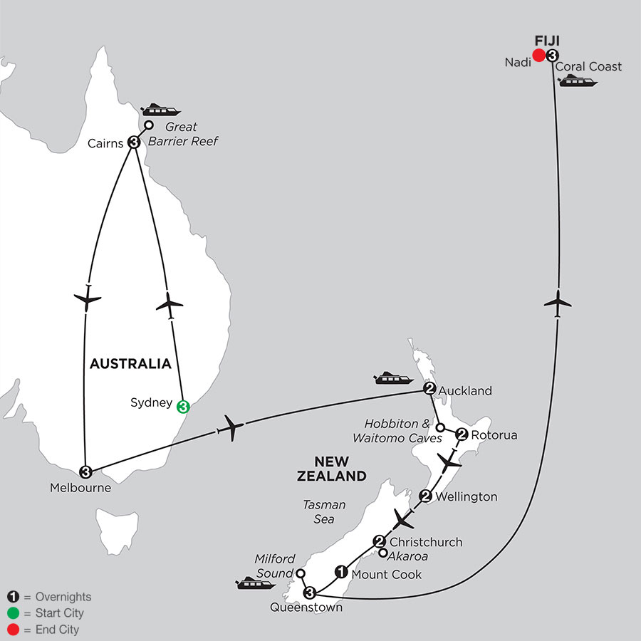 Naturally New Zealand with Sydney, the Great Barrier Reef, Melbourne & Fiji