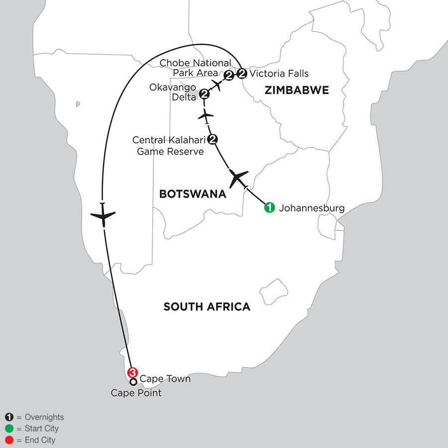Wilds of Botswana & Victoria Falls with Cape Town
