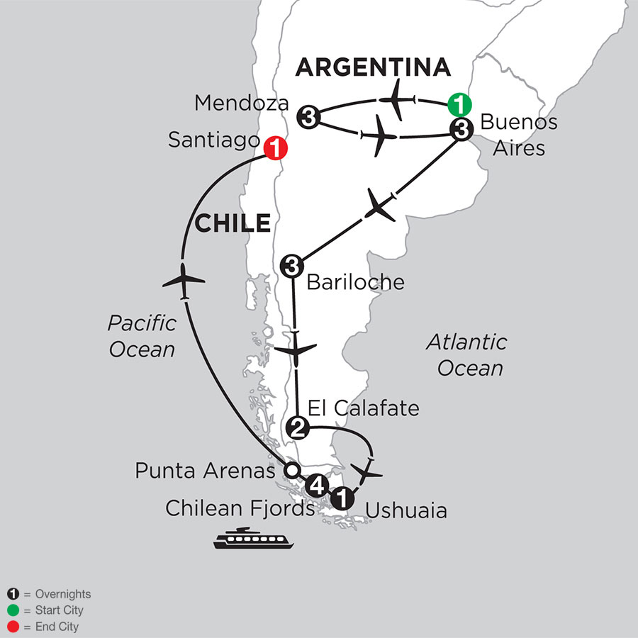 Argentina Highlights with Mendoza & Chilean Fjords Cruise