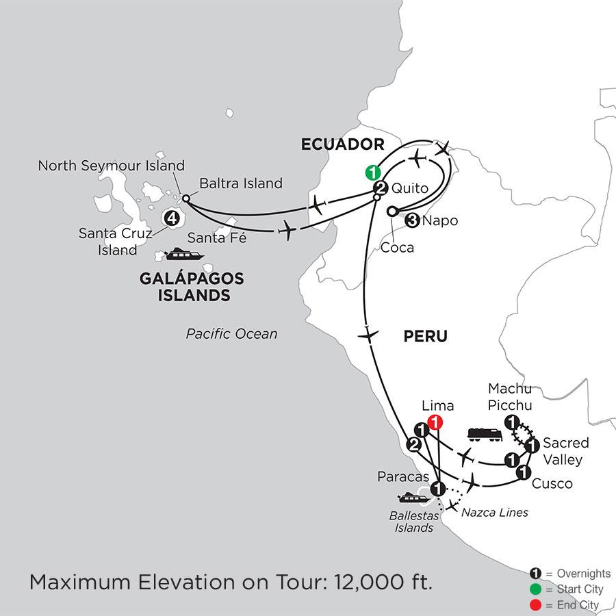 Galápagos Highlights & Peru with Ecuadors Amazon & Nazca Lines
